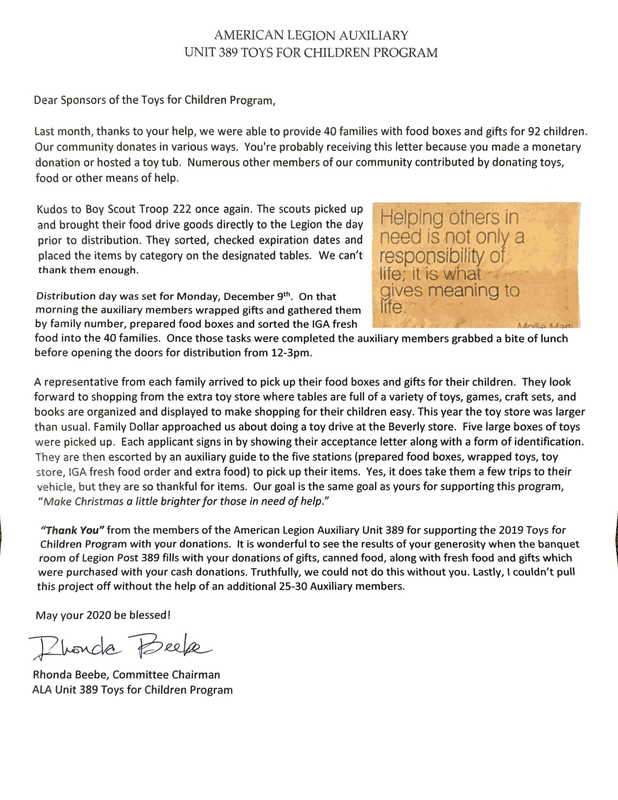 Thank You Letter from American Legion Auxiliary Unity 389 Toys for Children Program
