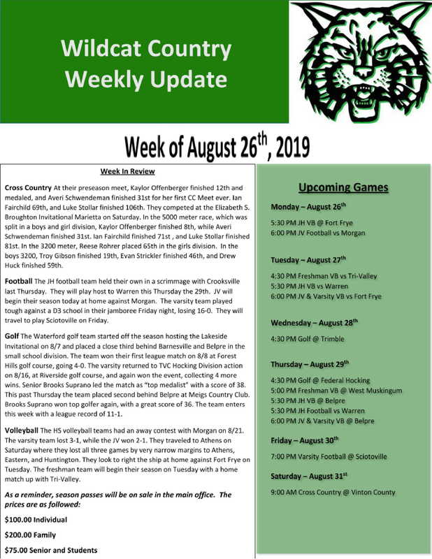 8/26/19 Wildcat Country Update
