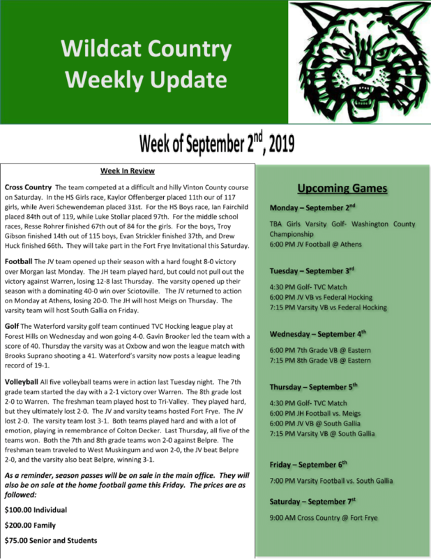 9/2/19 Wildcat Country Update