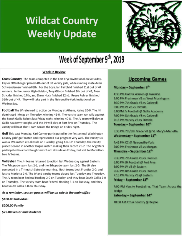 9/9/19 Wildcat Country Update