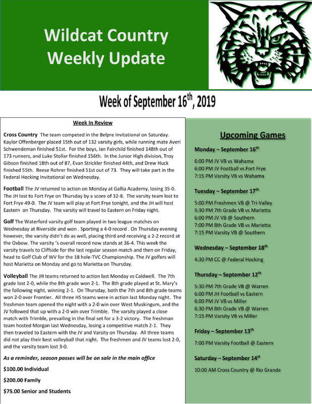 9/16/19 Wildcat Country Update