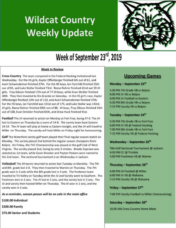 9/23/19 Wildcat Country Update
