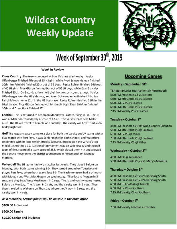 9/30/19 Wildcat Country Update