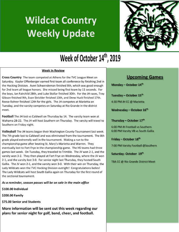 10/14/19 Wildcat Country Update
