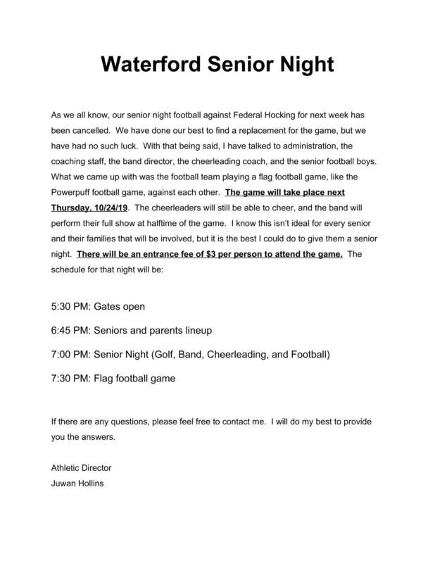 Waterford Senior Night