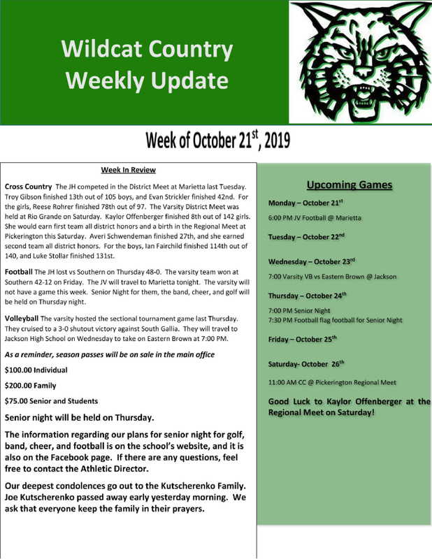 10/21/19 Wildcat Country Update