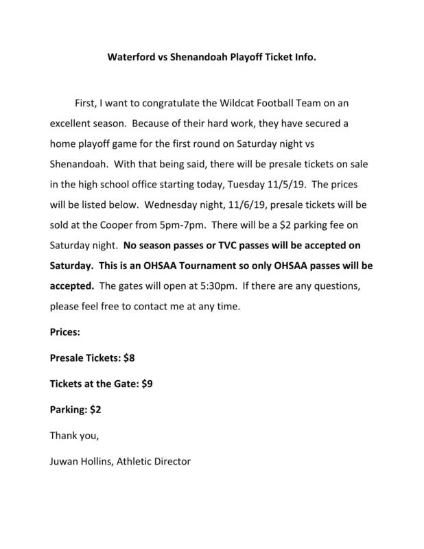 Waterford vs Shenandoah Playoff Ticket Info.