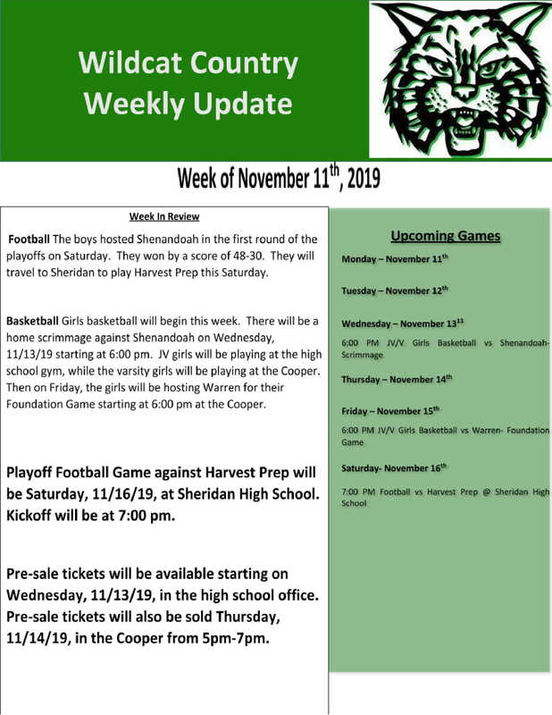 11/11/19 Wildcat Country Update