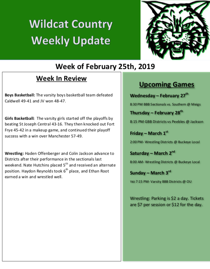 2-25 Wildcat Country Update